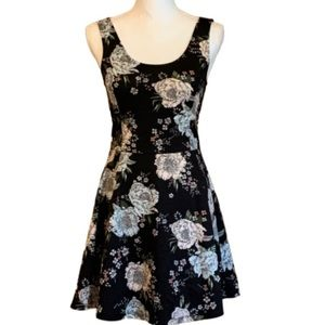 Divided Black and Pink Floral Print Skater Dress
